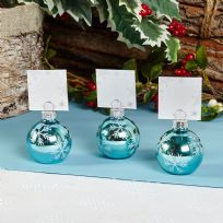 Blue Snowflake Bauble Place Card Holders (6)